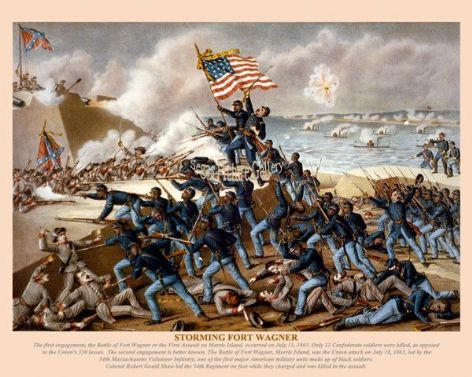 Fine art print of the American Civil War of the Storming Fort Wagner